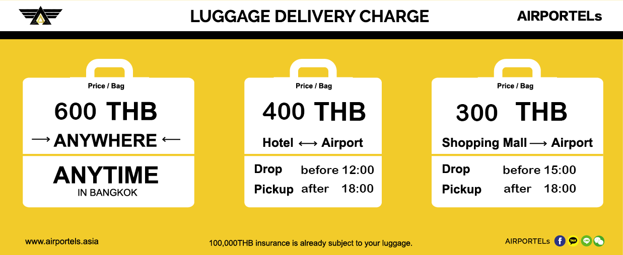 airportels promotion, luggage delivery, travel thailand
